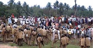 Bhubaneswar, Orissa. Date: 01/04/2008. Police in Balitutha posco project area is chasing anti Posco activists on Tuesday. Photo: By special arrangement.